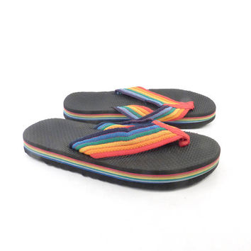 1980s Flip Flops Vintage Sandals Rainbow Thongs Thick Foam Stripe