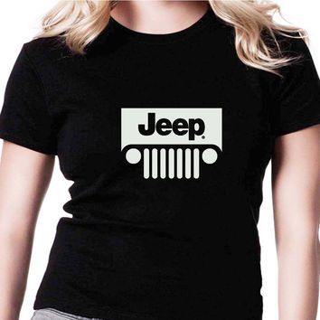Jeep A AMR Womens T Shirts Black And White