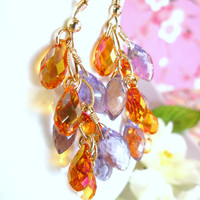 Orange and purple cluster gold chandelier earrings, Orange Swarovski crystal purple amethyst cluster earrings