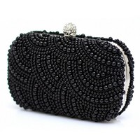 MapleClan Pearl Clutch Wallet Hand Beaded Dinner Party Bag
