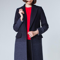 Navy Blue Coat Navy Women Coat Wool Coat Navy Gray Coat Trendy Coat  Navy Outwear Dark Blue Coat Gray Coat