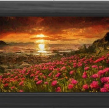 Sunset Impressionist Beach Landscape  Digital Painting signed art print 6x4 nature flowers