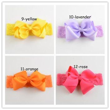 CREY78W 19pcs/lot 2015 New Hot 19Colors Kids Ribbon Bowknot Hair Bows 15' Lace Headband For girl Head  Girls Hair Flowers FDA96