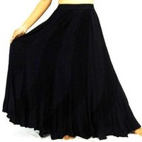 BLACK BIAS SKIRT ARTSY BOHO GYPSY - FITS (ONE SIZE) - L XL 1X 2X - A140S LOTUSTRADERS
