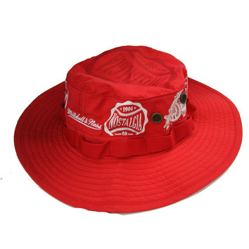 Mitchell & Ness Branded Nostalgia Bucket Hat in Red