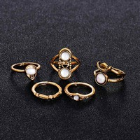 5pcs / sets Vintage Punk Midi Rings Set Retro Joint Rings Boho Style Female Charms Jewelry Ring For Women