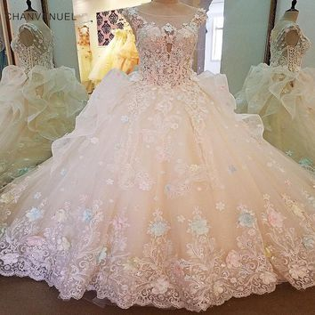 LS00104 Luxury wedding dress for bridal beading 3D flowers ball gown lace wedding gowns vestidos de noivas real photos 2018