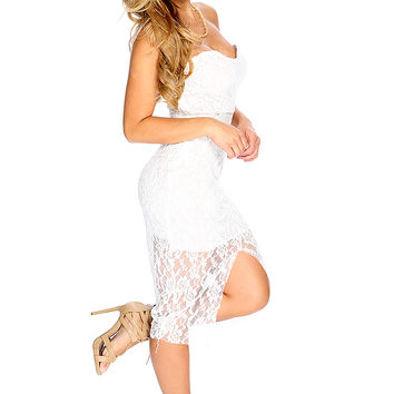 Sexy White Strapless Floral Lace Front Slit Party Dress
