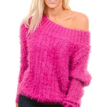 Magenta Fuzzy Sweater
