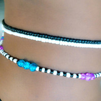 Purple Blue Black White Scented African Waist beads Belly Dance Belt Binbin waistbeads