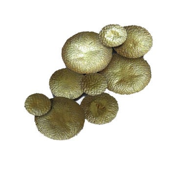 9 Gold Mushroom Metal Wall Home Decor