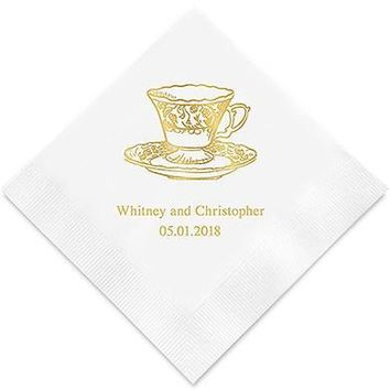 Vintage Tea Cup Printed Paper Napkins (Sets of 80-100)