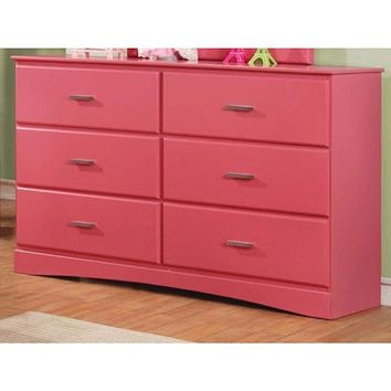 Captivating Wooden Dresser In Transitional Style, Pink By Casagear Home