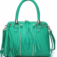 Gwen Handbag in Mint, Gwen Handbag in Nutmeg, Vegan leather, dual handles, fringe