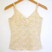 90s Oatmeal White TEXTURED Spaghetti Strap Tank Top Pastel Goth Grunge Club Kid New Age Boho // S
