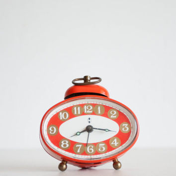 Small Alarm Clock, Blessing Werke German Desk Clock, Mechanical Office Clock, White and Tomato Red, Minimal Geometric