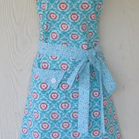 Retro Floral Apron , Women's Full Apron , Coral and Teal , Vintage Style Feedsack Floral , KitschNStyle