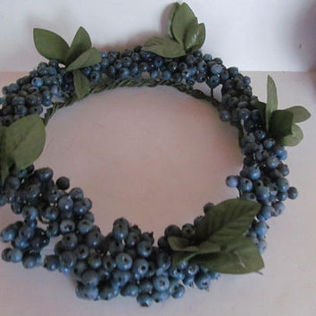 Blueberry Wreath for Doors and Walls Blueberry Kitchen Decor Wreaths Berries Blueberries Centerpiece Wreath Blue Wreaths Country Farmhouse