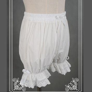 PEAPGC3 Sweet Cotton Lolita Shorts/Bloomers with Lace Trimming