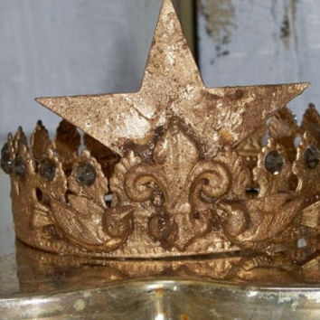 French Metal Crown Handmade Distressed Gold Piece For Statues Or Display Home Decor Anita Spero
