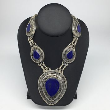 Turkmen Necklace Afghan Ethnic Tribal 5 Cab Lapis Lazuli Inlay Kuchi Necklace TN253