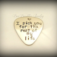 Hand Stamped Jewelry Guitar Pick and Leather Case Personalized For Him Fathers Day - Hand Stamped Stainless Steel