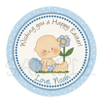 Easter boy sticker, Cupcake Topper, Tags, Easter printable - Easter celebration - Easter label