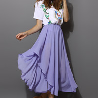 Chiffon Asymmetric Waterfall Skirt in Purple