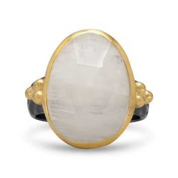 Two Tone Rainbow Moonstone Ring