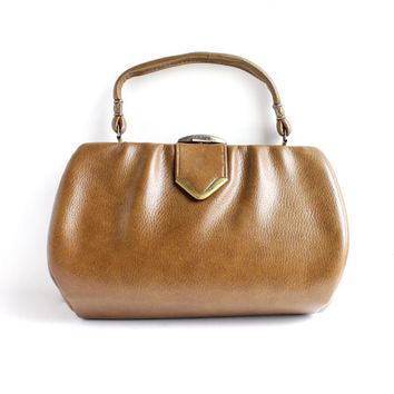 Vintage Brown Purse - 1960s 1970s Retro Faux Leather Tan Kelly Style Bag / Rustic Pocketbook