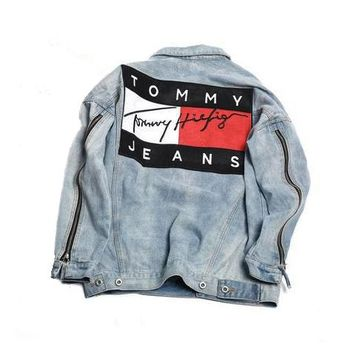 Trendsetter Tommy Hilfiger Woman Men Fashion Denim Cardigan Jacket Coat
