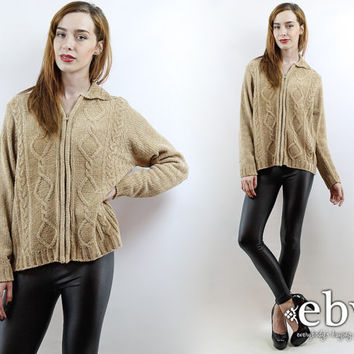 Vintage 90s Tan Cable Knit Cardigan Sweater S M Tan Cardigan Tan Sweater 90s Cardigan 90s Sweater 90s Jumper Cable Knit Jumper