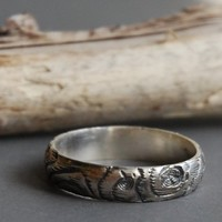 Supermarket: THIN PLYWOOD sterling silver woodgrain ring from Ball and Chain jewelry