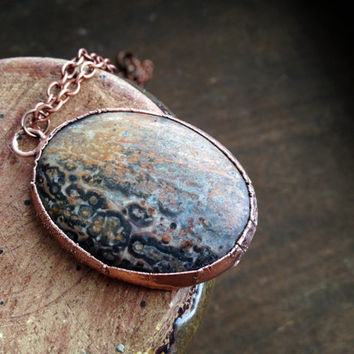 Leopard Skin Agate Necklace - Electroplated Stone Necklace - Agate Gemstone Necklace - Copper Chain - Boho - Hippie Necklace