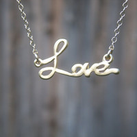 Love Pendant and Gold Filled Necklace by PiecesByEmily on Etsy $25.00
