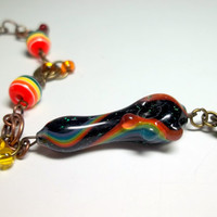 Glass Pipe, Rainbow Chakra Pipe Bead Bracelet with Chainmaille, Hand Blown Glass, Cgge Team, One of a Kind, Ready for Shipping