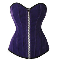 Purple Zipped Front Corset