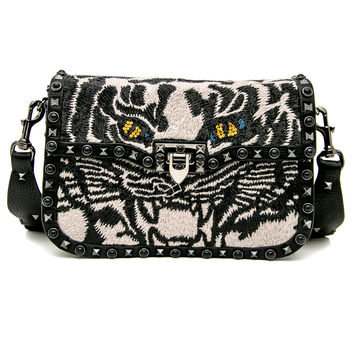 Black Tiger Rockstud Rolling Crossbody Bag