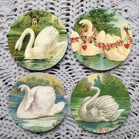 Swan Song -- Victorian Swans Mousepad Coaster Set