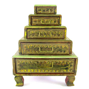 Wood Storage Boxes  Large Mens Jewelry Stacked Box Chest Hand Made Vintage Organizer