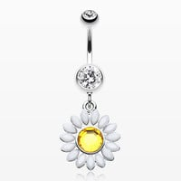 Daisy Marquise Flower Belly Button Ring