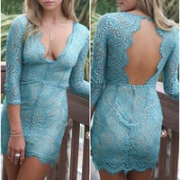 Jaded Romance Long Sleeve Lace Party Dress