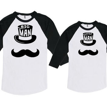 Matching Father And Baby Father Son Matching Shirts New Father Gift Big Man Little Man Bodysuit American Apparel Unisex Raglan MAT-760-761