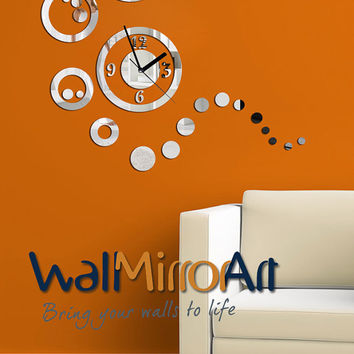 decorative wall clock ,  circle and rounds Shatterproof mirror clock, contemporary, unique wall clock, modern wall clock