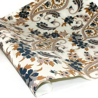 Metallic Screenprinted Indian Cotton Rag Paper - FLORAL PAISLEY - BLUE/TAN/GOLD