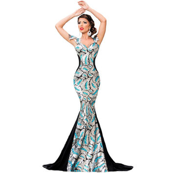 Party Silver Sleeveless Hollow Out Backless Mosaic Ball Gown Prom Dress [6514331847]
