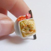 Scented or Unscented Bowl of Noodles Miniature Food Ring - Miniature Food Jewelry