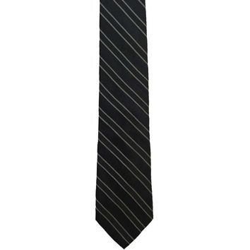 Hathaway Striped Wide Silk Tie - Black