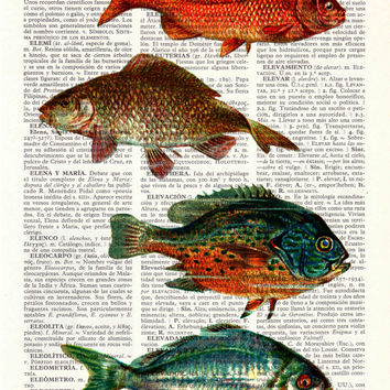 Vintage Book Print Dictionary or Encyclopedia Page Print- Book print Vintage  fishes Print on Vintage Dictionary Bookart art