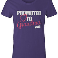 Women's Promoted To Grandma 2016 T-Shirt New Grandparents Baby Reveal